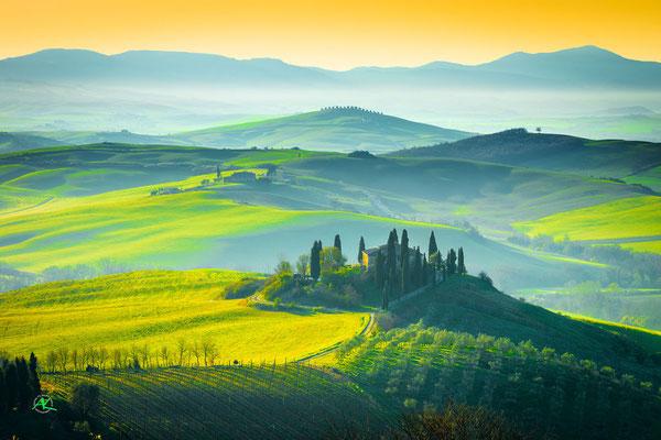 'Wahnsinnsfarben am frühen Morgen' Val D'Orcia, Toscana