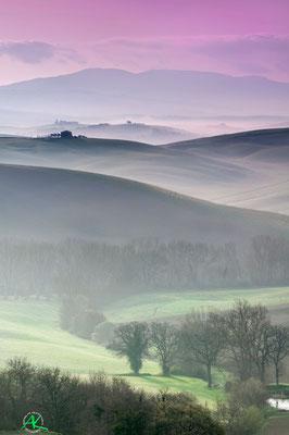 'Grüne Hügel im Morgendunst' Val D'Orcia, Toscana