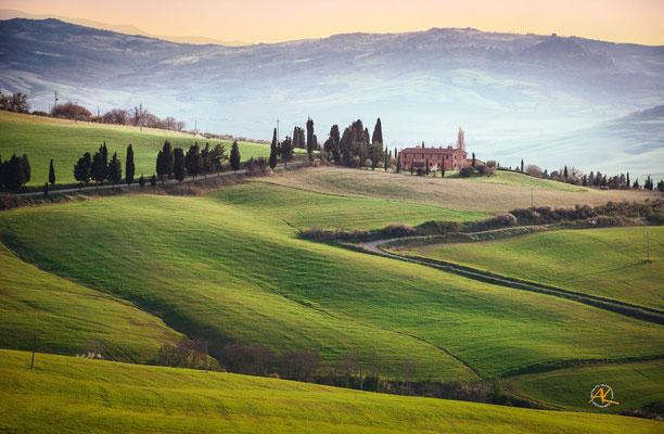 'Frühlingsmorgen in der Toscana' Val D'Orcia, Toscana