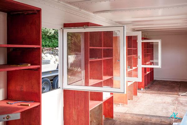 Die renovierten Werkstatt- Fenster