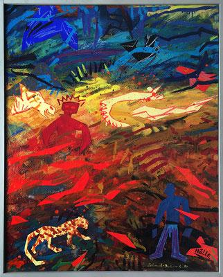 Himmel und Hölle, 100 cm x 80 cm, Acryl & Farbpapiere auf Nessel, 1995