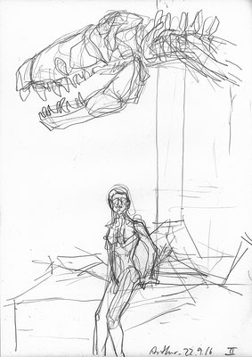 Arthur unter dem T-rex TRISTAN im Museum für Naturkunde Berlin, 30 cm x 42 cm, Graphit auf Papier, 22.9.2016