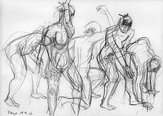 Maya im Museum für Naturkunde Berlin - Bewegung, 3 Min., 42 cm x 30 cm, Graphit auf Papier, 14.09.2017