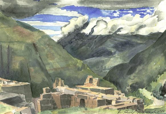 Inkaruinen in Pisac bei Cusco, Peru; 33 cm x 22,5 cm, Aquarell auf Papier, 5.3.1984
