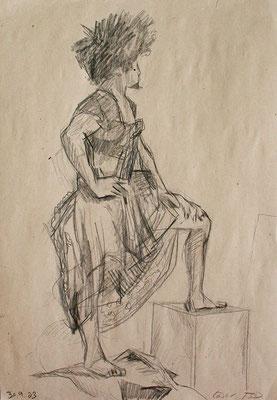Cesar, 42 cm x 30 cm, Fettkreide auf Papier, 30.9.2003