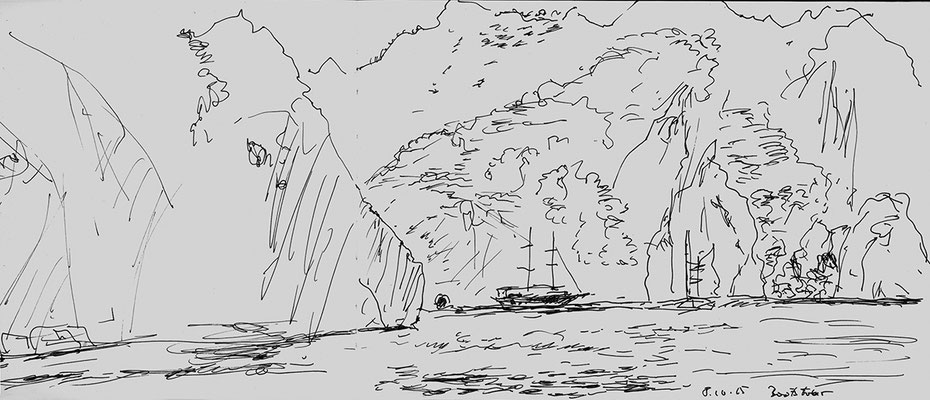 Bootsausflug bei Cirali, Türkei;  52 cm x 18 cm, Gelstift im Skizzenbuch, 15.10 2015