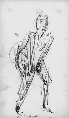 Jörn in Paris, 17 cm x 30 cm, Graphitstift auf Papier, 6.12.1982