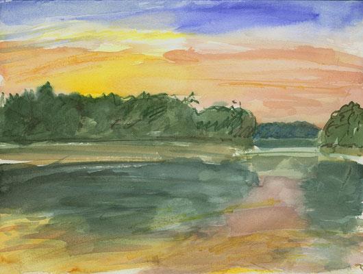 Am Steg vom Lübbesee Uckermark, Aquarell + Aquarellstifte, 32 cm x 24 cm, 22.8.2015
