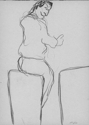 Bei den Proben zu Franz Kafkas »Beschreibung eines Kampfes«, 21 cm x 29,7 cm, Graphitstift auf Papier, Sommer 1987