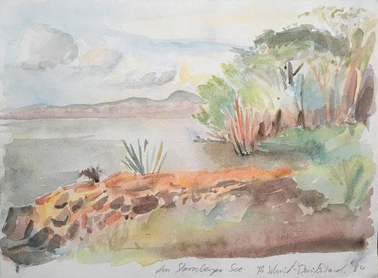 Am Starnberger See, 34 cm x 25 cm, Aquarell auf Papier, 1984