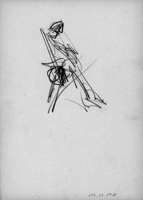 Im Fittnesscenter, 21 cm x 29,5 cm, Graphit auf Papier, 17. 11. 1986
