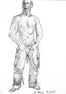 Antonio, 30 cm x 42 cm cm, Graphit auf Papier, 17.10.2005