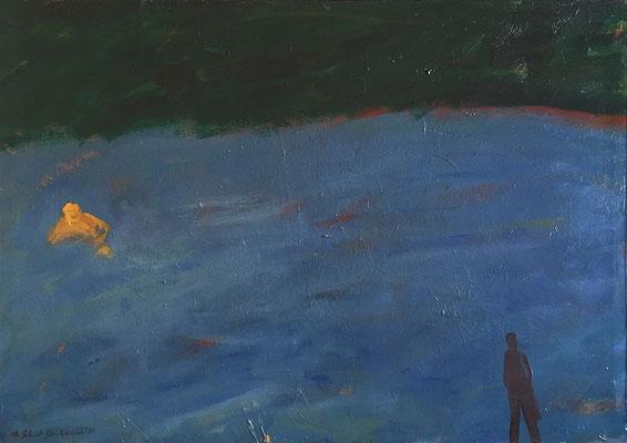 der Dicke; 90 cm x 62 cm, Acryl-, Ölfarbe auf Nessel, Nov. 1987
