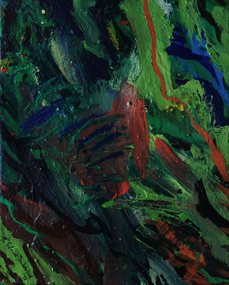 Abstraktes Grün, 40 cm x 50 cm, Acryl auf Nessel, 1995