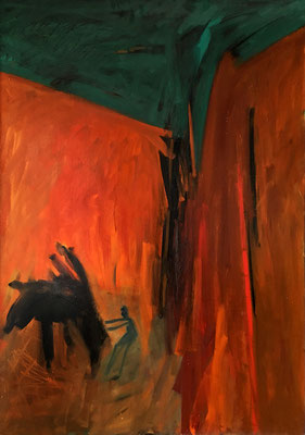 Das Piano, 112 cm x 160 cm, Ölfarbe auf Nessel, 10-1987