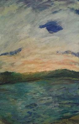 Templiner See, 100 cm x 155 cm, Acryl auf Nessel, 1996