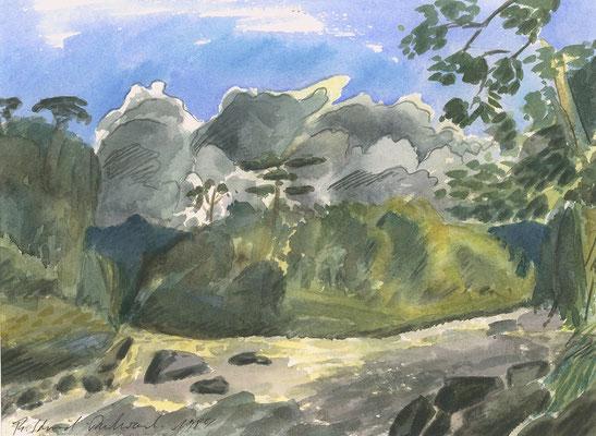 Isar am Georgenstein, 32 cm x 23 cm, Aquarell auf Papier, 1984