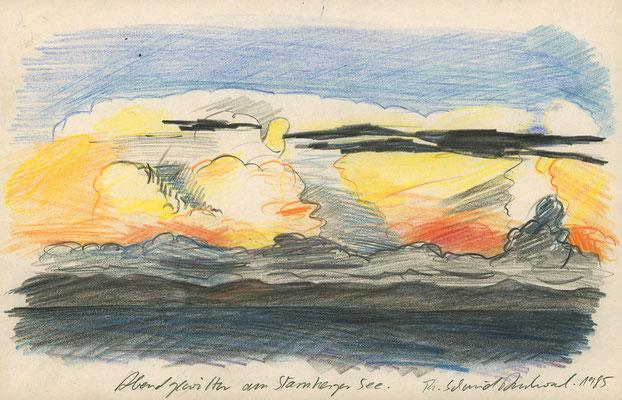 Abendgewitter am Starnberger See; 29,7 cm x 19,5 cm, Bunt- und Graphitstifte auf Papier, 1985