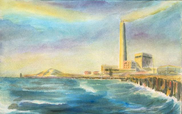 Power Station von Tel Aviv, 40 cm x 25 cm, Aquarell auf Papier, Sommer 1987
