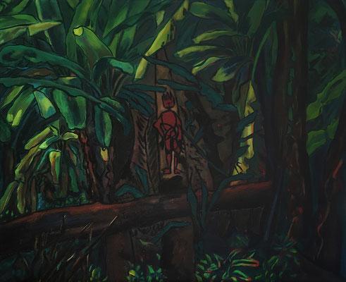 Damals im Bananenhain, 98 x 82 cm, Ölfarbe auf Nessel, Jan. 1985