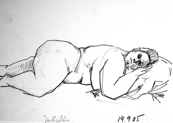 Julischka , 42 cm x 30 cm, Graphit auf Papier, 19.9.2005