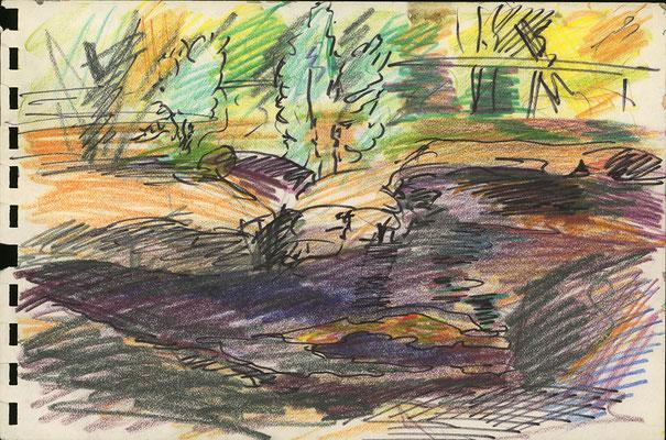 Schlammloch am Deininger Weiher, bei München; 24 cm x 16 cm, Bunt- und Filzstift auf Papier, 3.9.1985