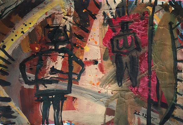 Tagesbild, 50 cm x 38 cm, Acrylfarbe und Papierreste auf Papier, 22.12.1985