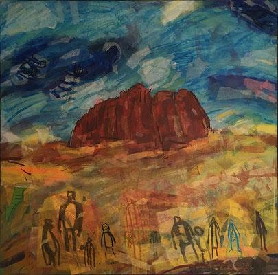 Gilgamesch vor seiner Zeit, 100 cm x 100 cm, Acryl/Papier auf Nessel, 1996