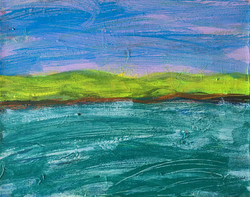 Bewegter See, 50 cm x 40 cm, Acryl auf Nessel, 7-2017