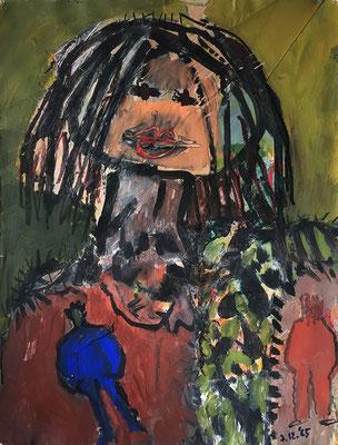 Tagesbild_ 38 cm x 50 cm, Acrylfarbe und Papierreste auf Papier, 07.12.1985