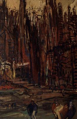 Abends in Soho, 68,5 cm x 105 cm, Acryl auf Nessel, 1987