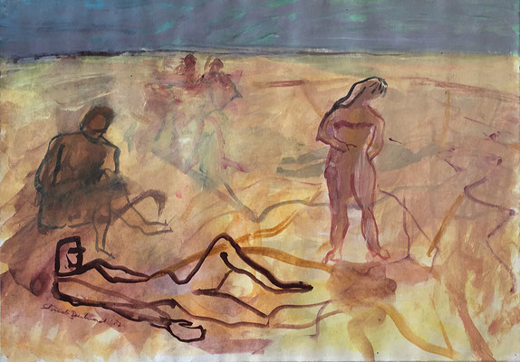 Tel Aviv Beach, 35 x 50 cm, Acryl auf Papier, 5 1987