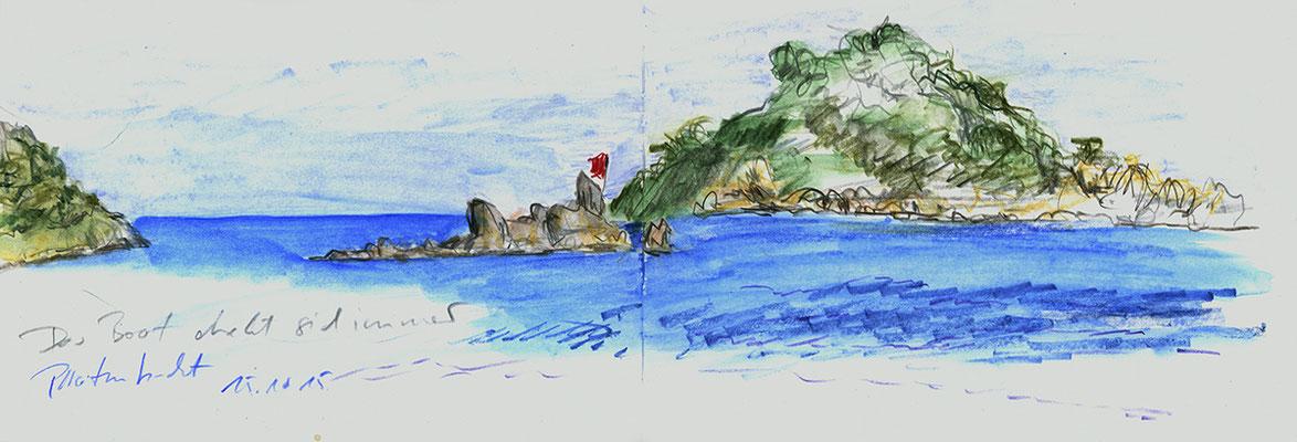 Piratenbucht bei Myra, Türkei;  52 cm x 18 cm, Aquarellstifte im Skizzenbuch, 15.10 2015