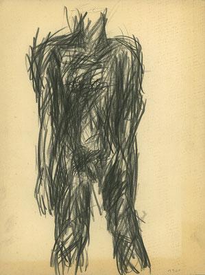 Nach Aktmodell, 24 cm x 32 cm, Fettstift auf Papier, 1981