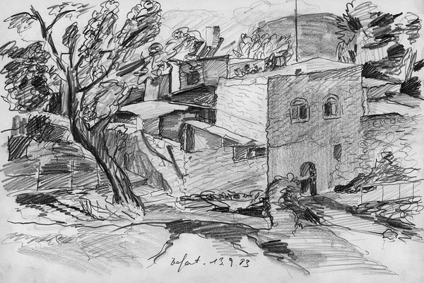 Zefat in Israel; 29,5 cm x 20 cm, Graphitstift auf Papier, 13.9.1983