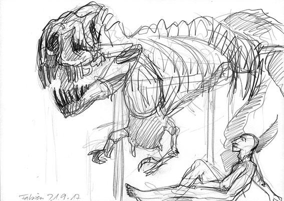 Fabien im Museum für Naturkunde Berlin mit T-Rex, 42 cm x 30 cm, Graphit auf Papier, 21.09.2017