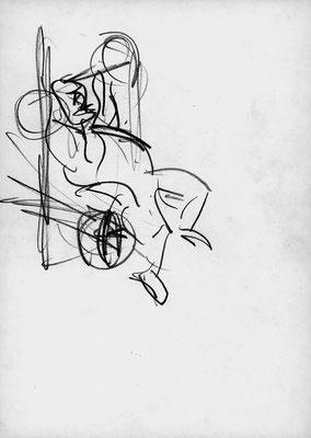 Im Fittnesscenter, 21 cm x 29,5 cm, Graphit auf Papier, 16. 11. 1986