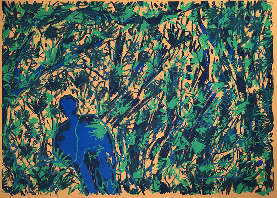 King Kong im Dschungel, Siebdruck auf Papier, E.d.A., 42 cm x 30 cm, 1985