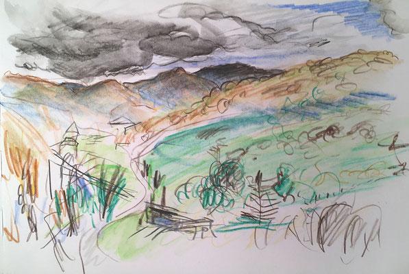 Der kleine Kaukasus bei Dmanissi, Georgien; 26 cm x 18 cm; Aquarellstifte im Skizzenbuch, 19.10 2014
