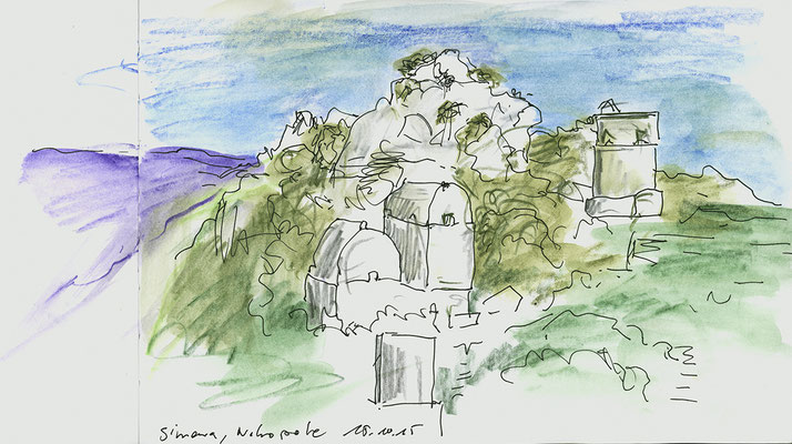 Kaleköy, das antike Simena - Nekropole; Türkei  22 cm x 18 cm, Aquarellstifte, Gelstift im Skizzenbuch, 15.10 2015