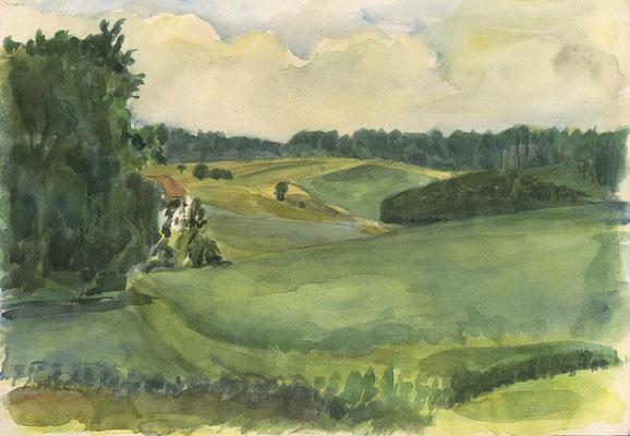 Guggenberg, Niederbayern, 36 cm x 25 cm, Aquarell auf Papier, 17.7.1986
