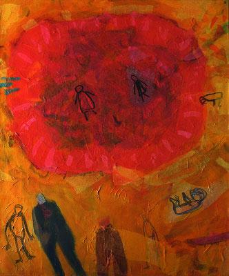 Geburt_ 80 cm x 100 cm, Acryl, Seidenpapier auf Nessel, 1996