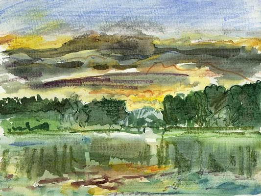Nach dem Regen am Lübbesee Uckermark, Aquarell + Aquarellstifte, 32 cm x 24 cm, 16.8.2016