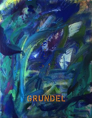 Grundel, 80 cm x 100 cm, Acryl auf Nessel, 1990