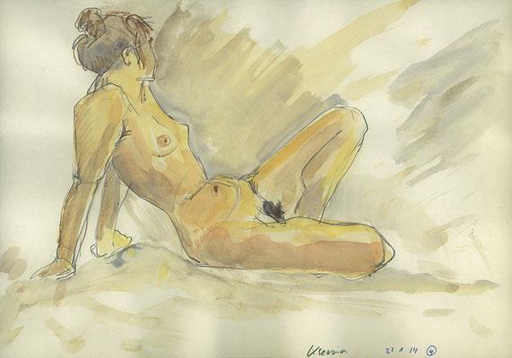 Xenia, 32 cm x 22 cm, Aquarell und Graphit auf Papier, 22.1.2014