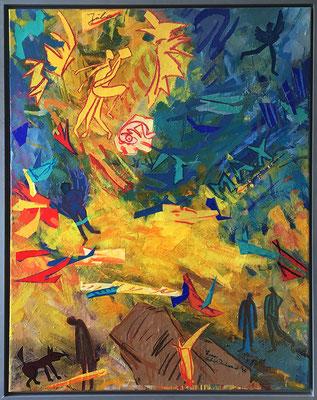 Julia oder Max, 100 cm x 80 cm, Acryl & Farbpapiere auf Nessel, 1995