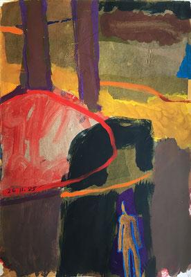 Tagesbild_ 38 cm x 50 cm, Acrylfarbe und Papierreste auf Papier, 26.11.1985