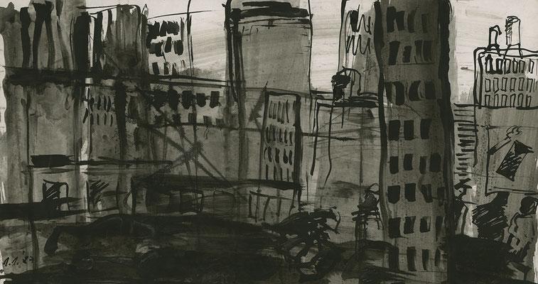 Erinnerung an N.Y., 36 cm x 19,5 cm, Tusche auf Papier, 1.1.1987
