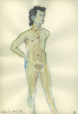 Danilo, 22 cm x 32 cm, Aquarell und Aquarellstift auf Papier, 10.2.2014