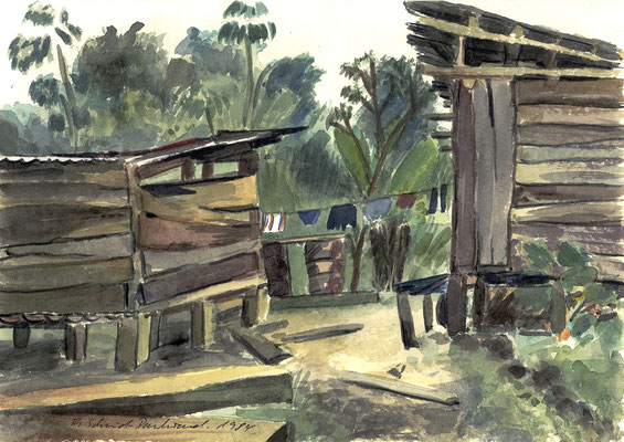 Salvacion, Peru; 33,5 cm x 23 cm, Aquarell auf Papier, Fürhjahr 1984